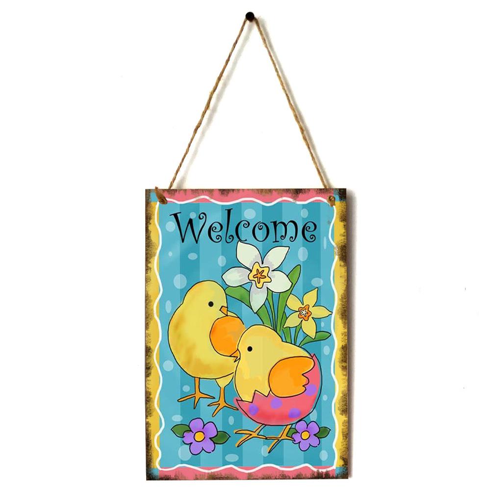 Wooden Happy Easter Chick/Rabbit/Crucifix Pattern Plaque for Door Hanging Decoration Craft JM01136