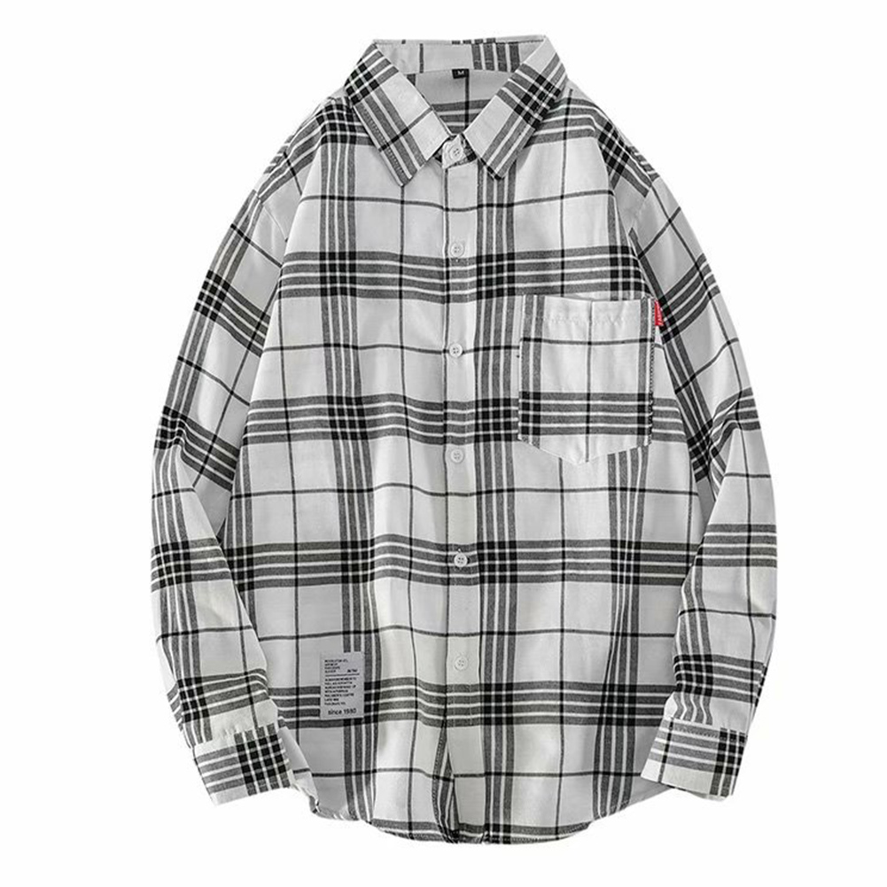 Men's Shirt Casual Long-sleeved Lapel Plaid Pattern Slim Shirt White _XXXL