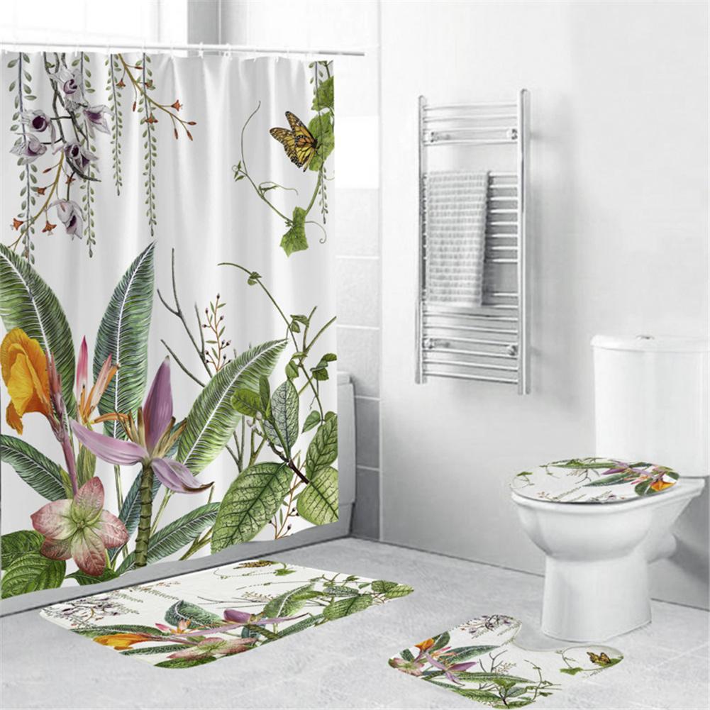4Pcs/Set Shower Curtain 180*180cm Non-Slip Rug Toilet Lid Cover Bath Mat for Bathroom yul-2180