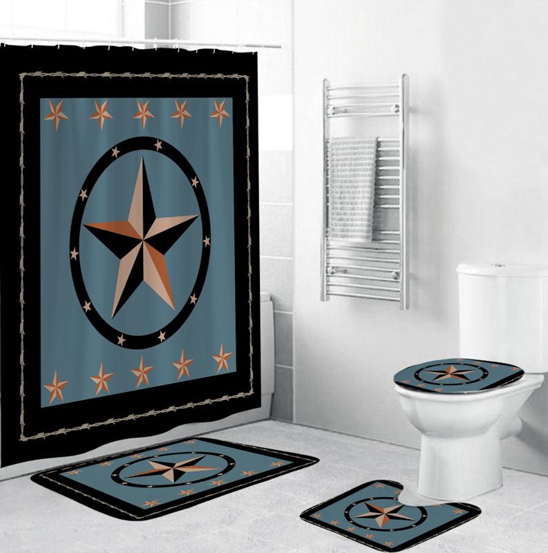 4Pcs/Set 3D Star Printing Shower Curtain 180*180cm Non-Slip Rug Toilet Lid Cover Bath Mat for Bathroom yul-2185
