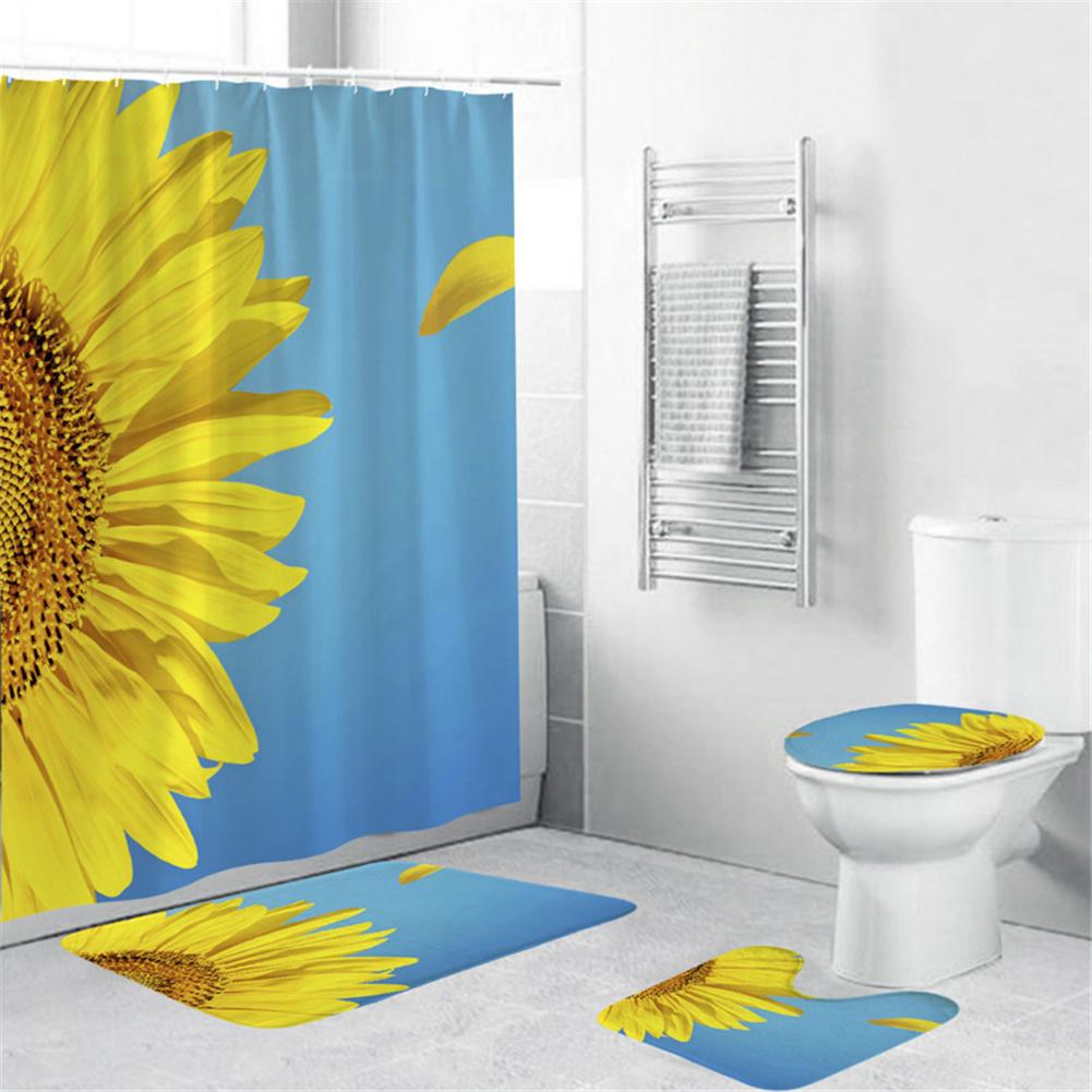 4Pcs/Set Shower Curtain 180*180cm Non-Slip Rug Toilet Lid Cover Bath Mat for Bathroom yul-2183