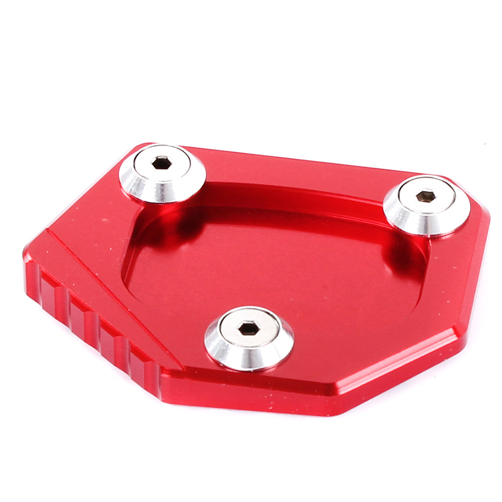 Professional Aluminum Motorcycle Kickstand Side Stand Extension Pad Plate Cover for Honda CB400 NC700 CB250F red