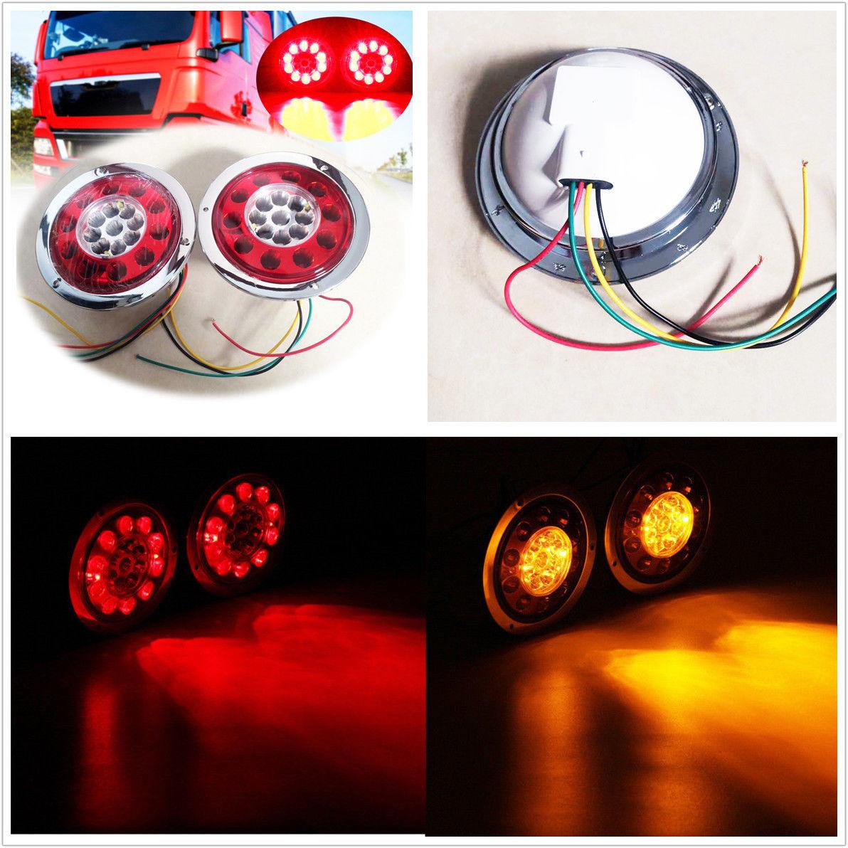 19 LED Car Truck Trailer Lorry Brake Stop Turn Tail Light Lamp 12V/24V Red yellow