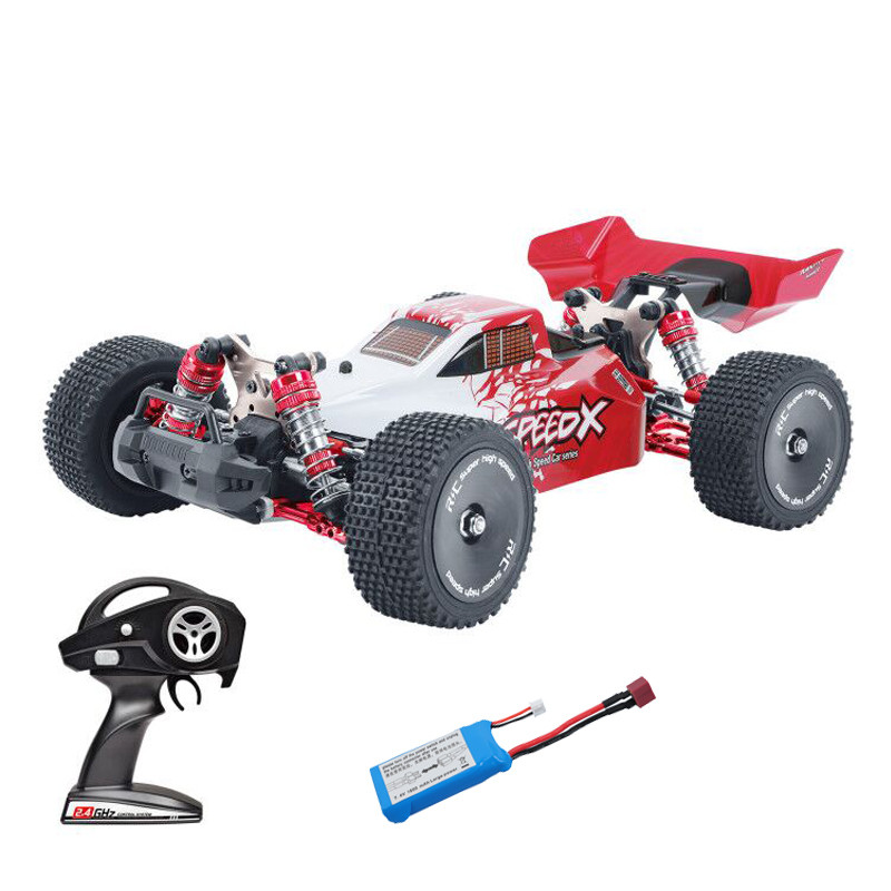 Xlf F16 Rtr 1/14 2.4ghz 4wd 60km/h Metal Chassis Rc  Car Full Proportional Vehicles Model Blue+extra Tires red