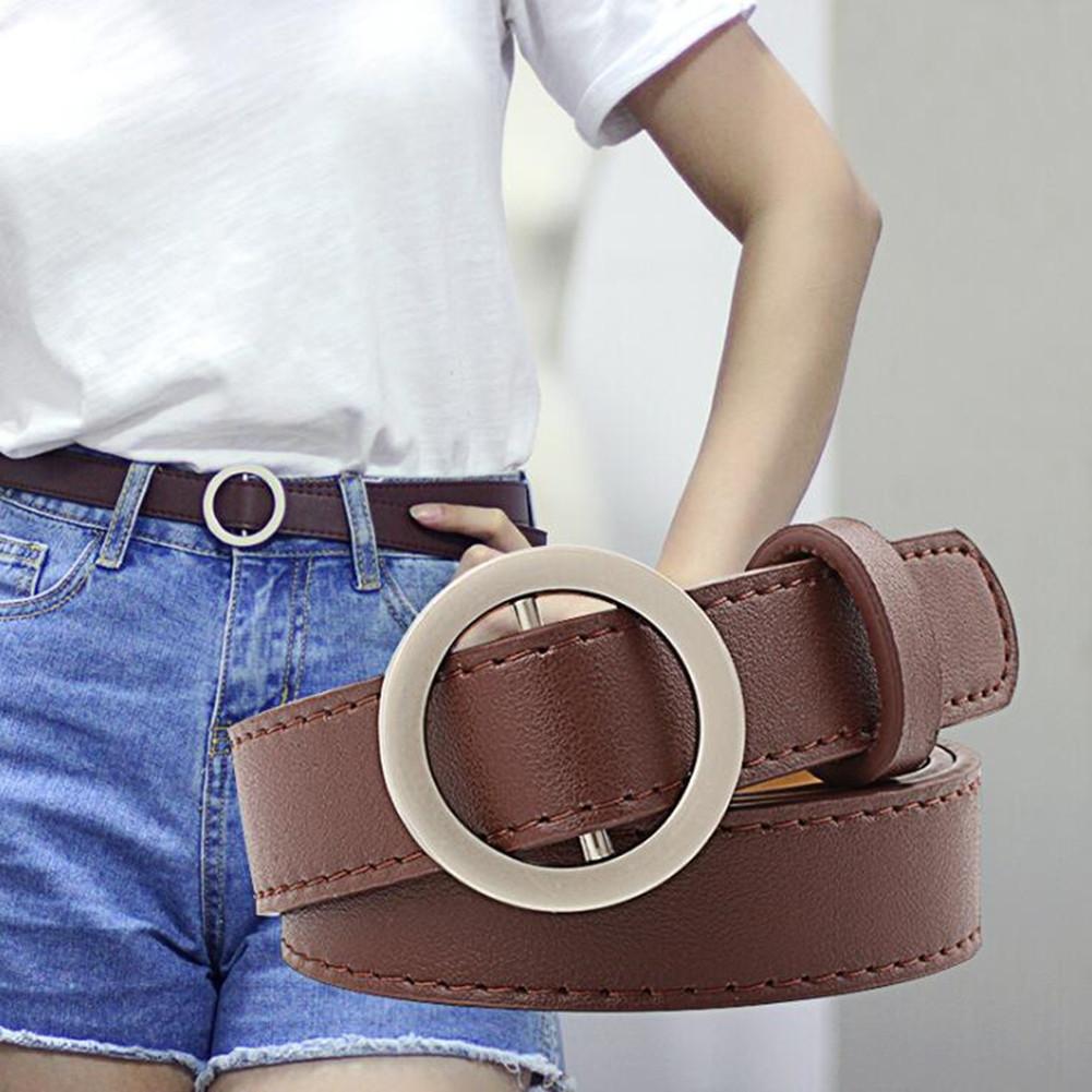 Women's Vintage Fashion Round Buckle Leather Wide Belt