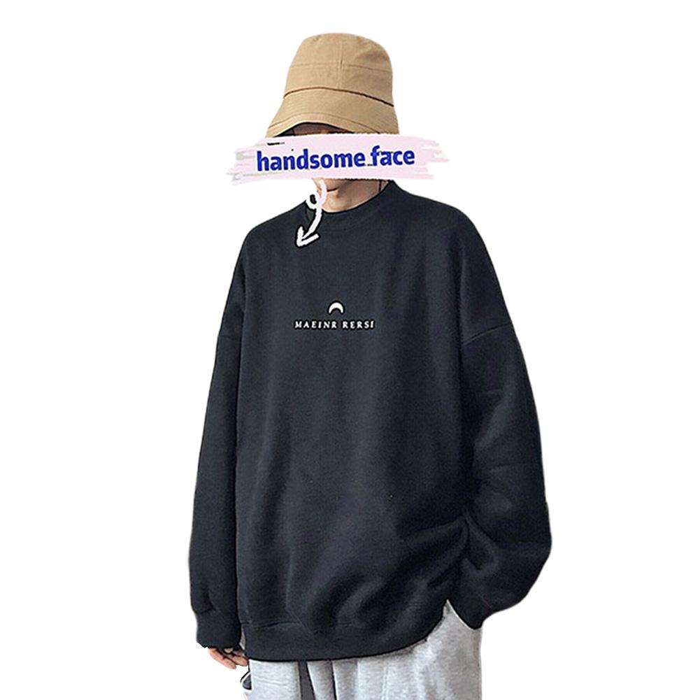 Men Women Crew Neck Sweatshirt Moon Letter Printing Solid Color Loose Fashion Pullover Tops Black_M