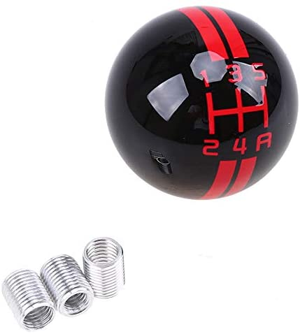 Universal Car Gear Shift Knob for Ford Mustang GT500 Manual Automatic Gear Shift Shifter Stick Lever Cover Red on black_5 speed