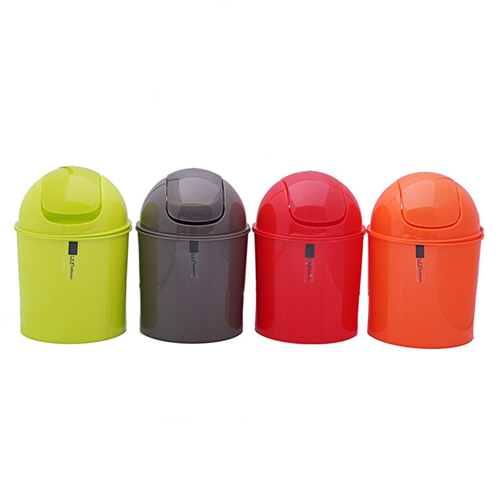 Mini Waste Can with Swing Lid for Office Desk Color Random Green, red, orange, black four-color random_14X20CM