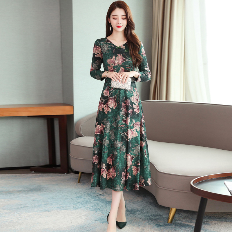 Women Long Dress V-neck Retro Printing Flower High Waist Long Sleeves Spring Autumn Dress Green_M