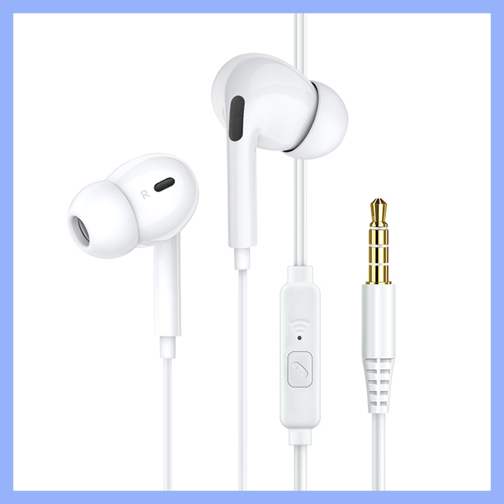 Wired Headphones Bass In Ear Headphone With Mic Music Earbuds 3.5mm Stereo Gaming Headset Dynamic Macaron Color Gifts White