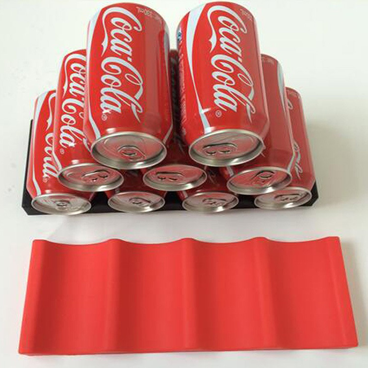 Beverage Can Organizer Pad Silicone Stacker Cans Fridge Mat Beverages Rack Stacking Tool Bottle Holder red