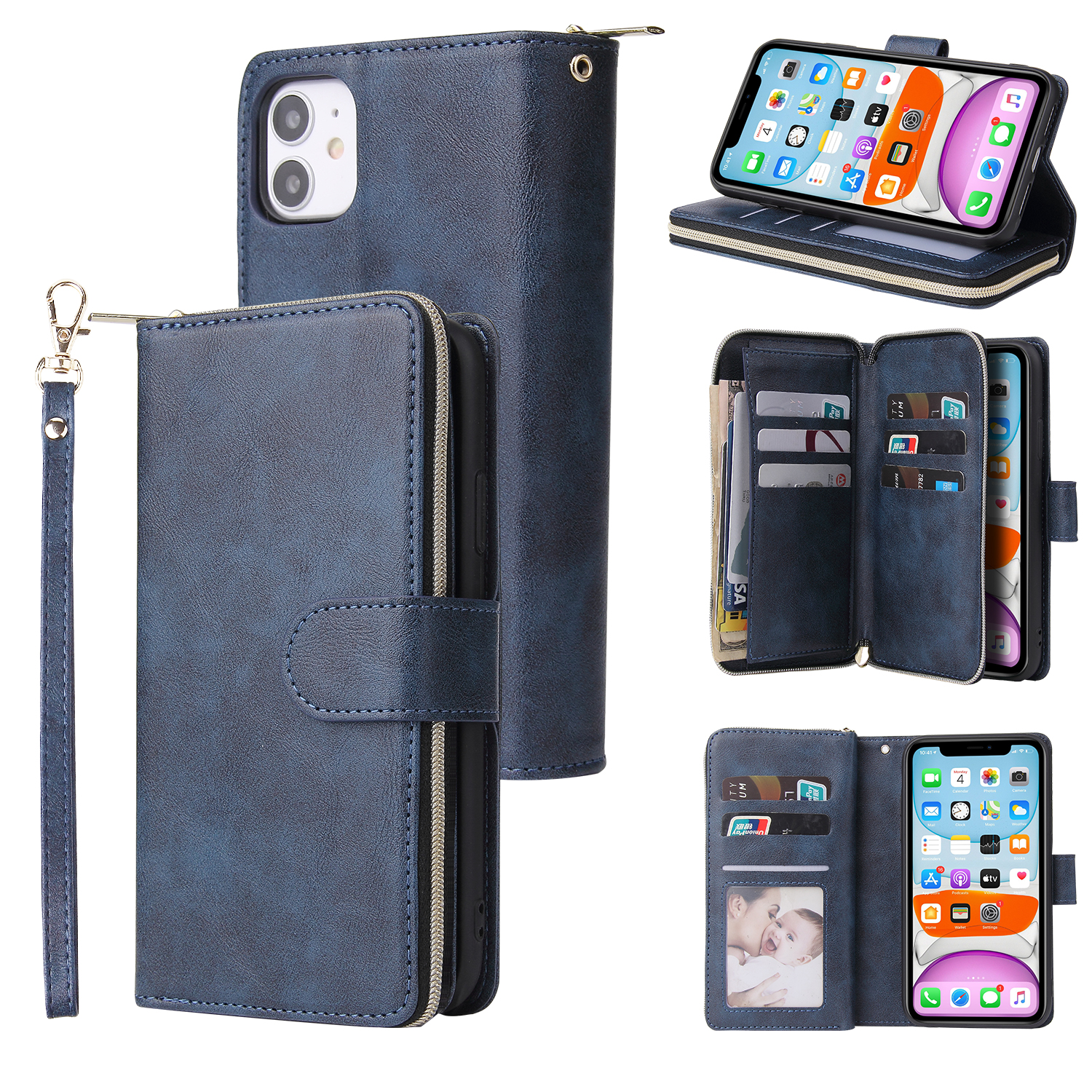 For iphone X/XS/XS MAX/11/11Pro Pu Leather  Mobile Phone Cover Zipper Card Bag + Wrist Strap blue
