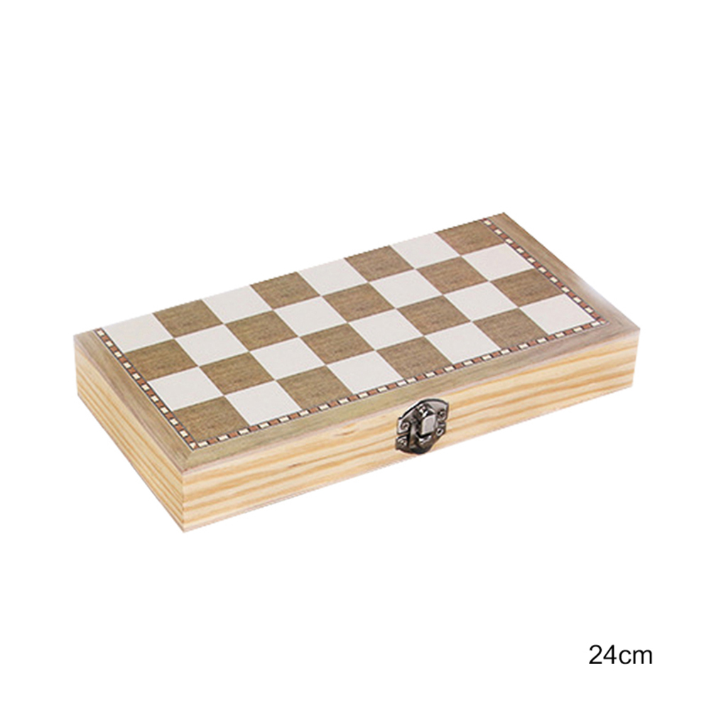 Wood Chess Set Portable Game Of Chess Checkers Backgammon Folding Chess Game 24CM