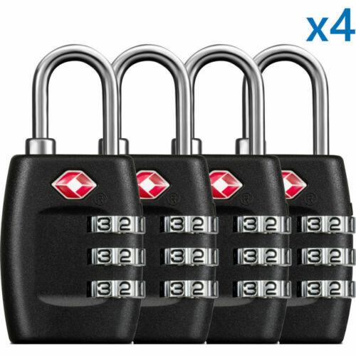 4Pcs TSA Approved Luggage Lock Travel 3 Digit Combination Suitcase Padlock Reset As shown
