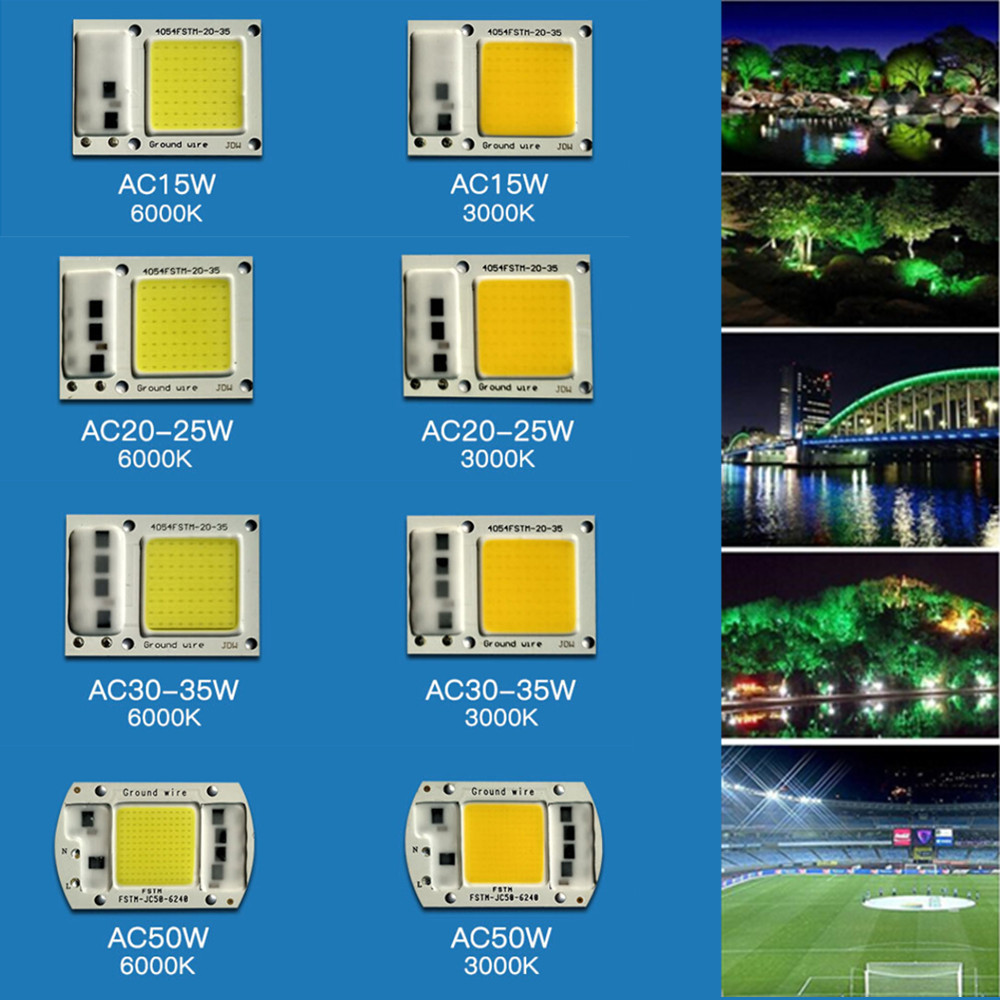 [Indonesia Direct] 15W/20W/30W/50W LED Drive-Free COB Chip Lamp 220V 15W white light