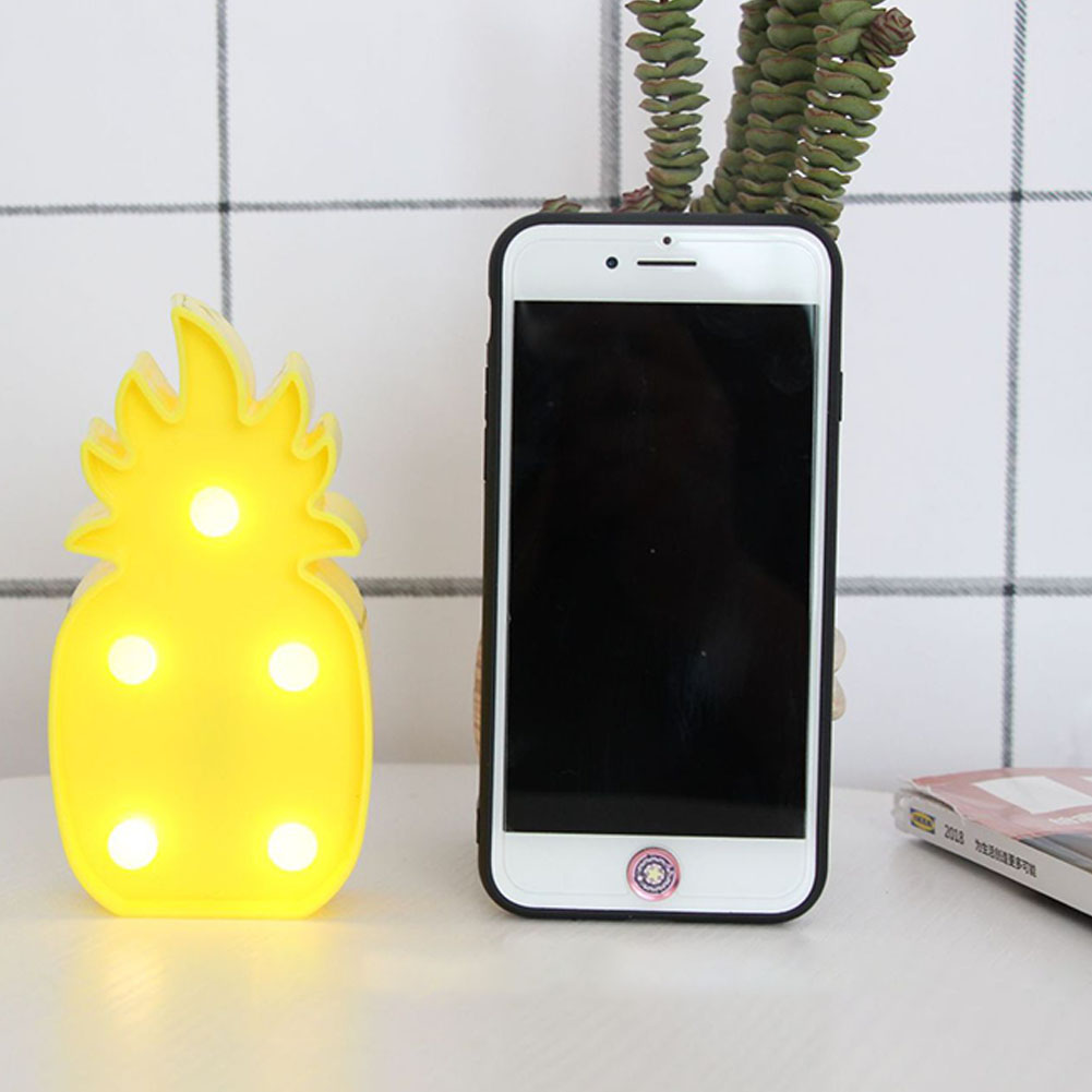 [Indonesia Direct] 3D Cartoon Pineapple/Flamingo/Cactus Modeling Night Light LED Lamp Home Office Decoration Gift pineapple
