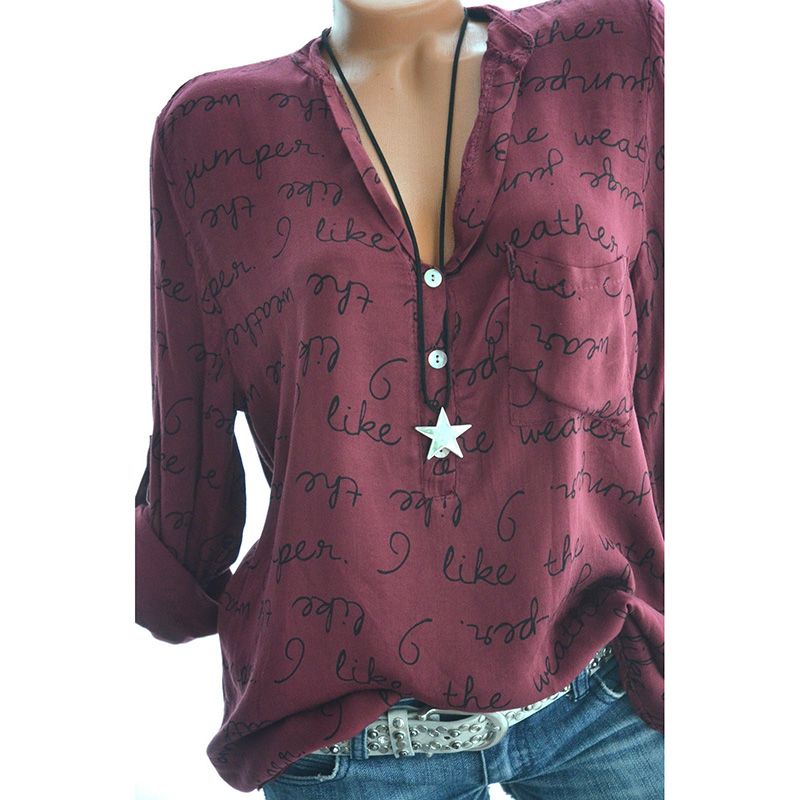Women  Long Sleeve Pullover Top Wine Red M
