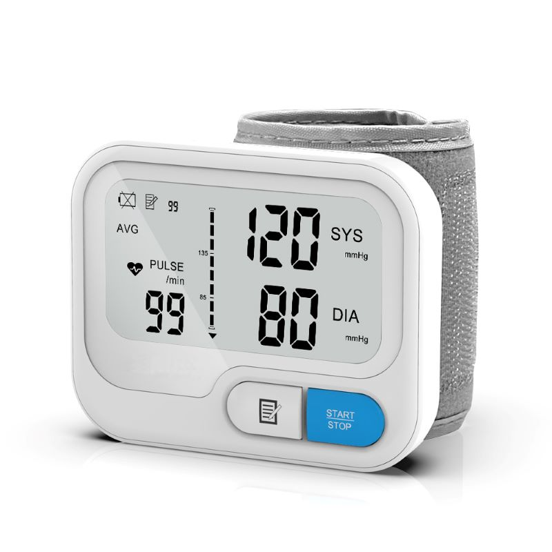 Automatic Digital Wrist Blood Pressure Monitor Sphygmomanometer Tonometer Tensiometer Heart Rate Pulse Meter BP  Monitor White