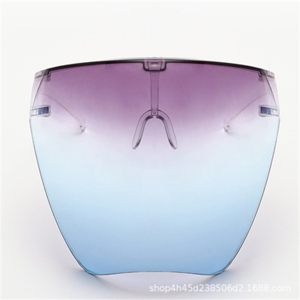 Transparent Protective  Mask Anti-fog Large Frame Full Face Anti-spray Faceshield Upper purple and lower blue 11