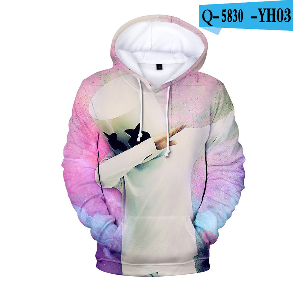 Men Women DJ Marshmello 3D Print Small Happy Face Balloon Long Sleeve Sport Hoodies Sweatshirt P style_S