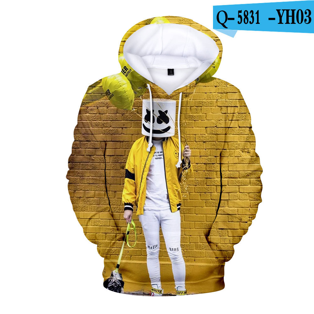 Men Women DJ Marshmello 3D Print Small Happy Face Balloon Long Sleeve Sport Hoodies Sweatshirt A style_L