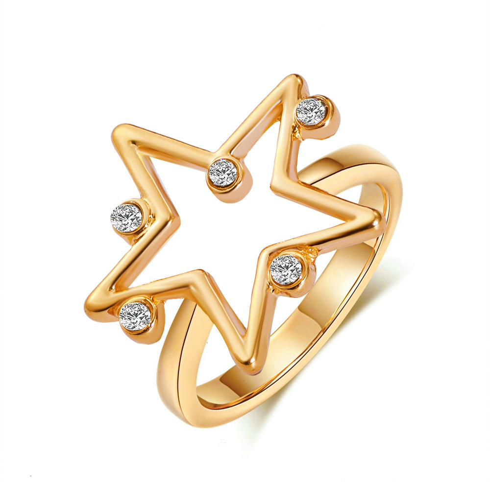 Simple  Geometric  Ring Personality Zircon Five-pointed Star Ring Creative Jewelry Golden
