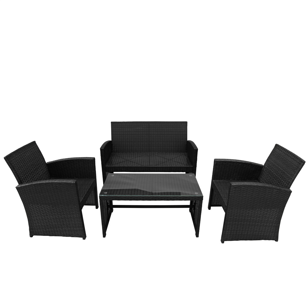 [US Direct] 4pcs/set Outdoor  Patio  Set Rattan 2-people Sofa+chairs With Tempered Glass Tabletop+cushioned Seats Black