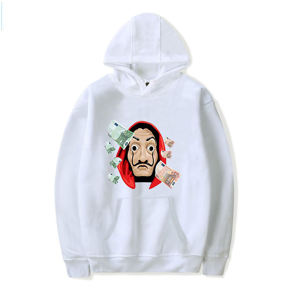 Long Sleeves Hoodie Loose Sweater Pullover with Unique Pattern Decor for Man and Woman White D_L