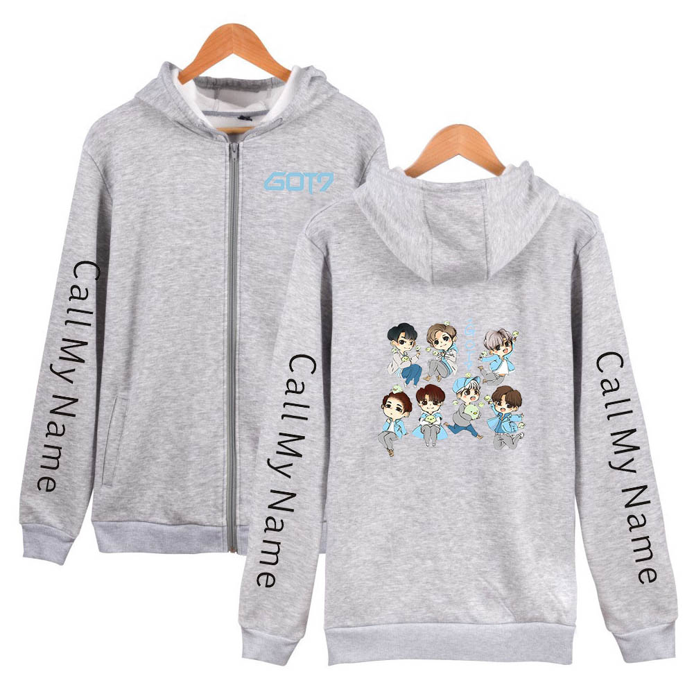 Zippered Casual Hoodie with Cartoon GOT7 Pattern Printed Leisure Top Cardigan for Man and Woman Gray C_M