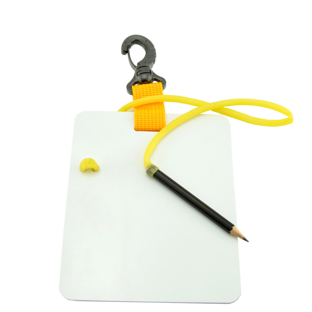 Underwater Writing Slate Diving Wordpad Gear Board with Swivel Clip Pencil for Water Sports Diving Swimming Yellow Small
