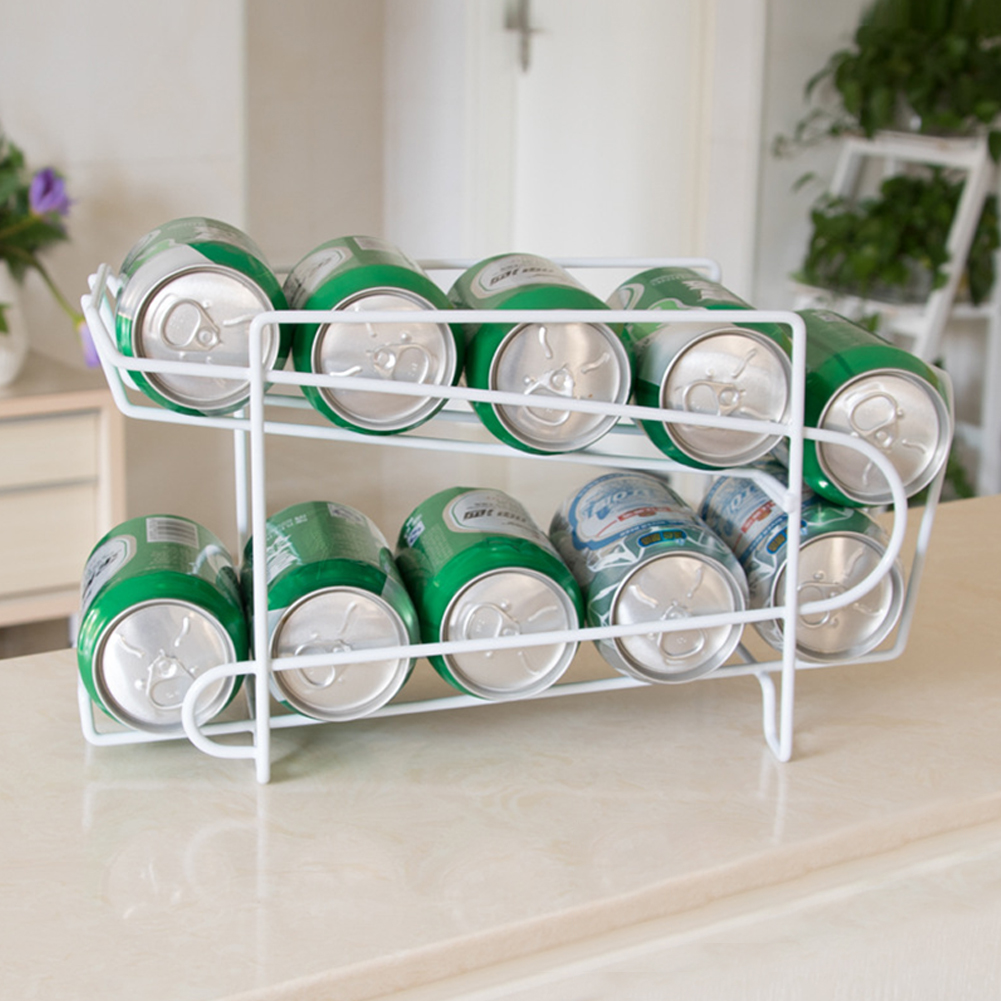 2 Layers Tabletop Storage Rack for Refrigerator Drink Can Beer Cola Shelf As shown