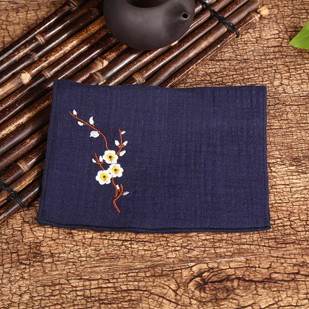 Tea Towel Embroidery Plum Blossom Water-absorbing Thicken Cotton Linen Bowl Teapot Cleaning Towel dark blue