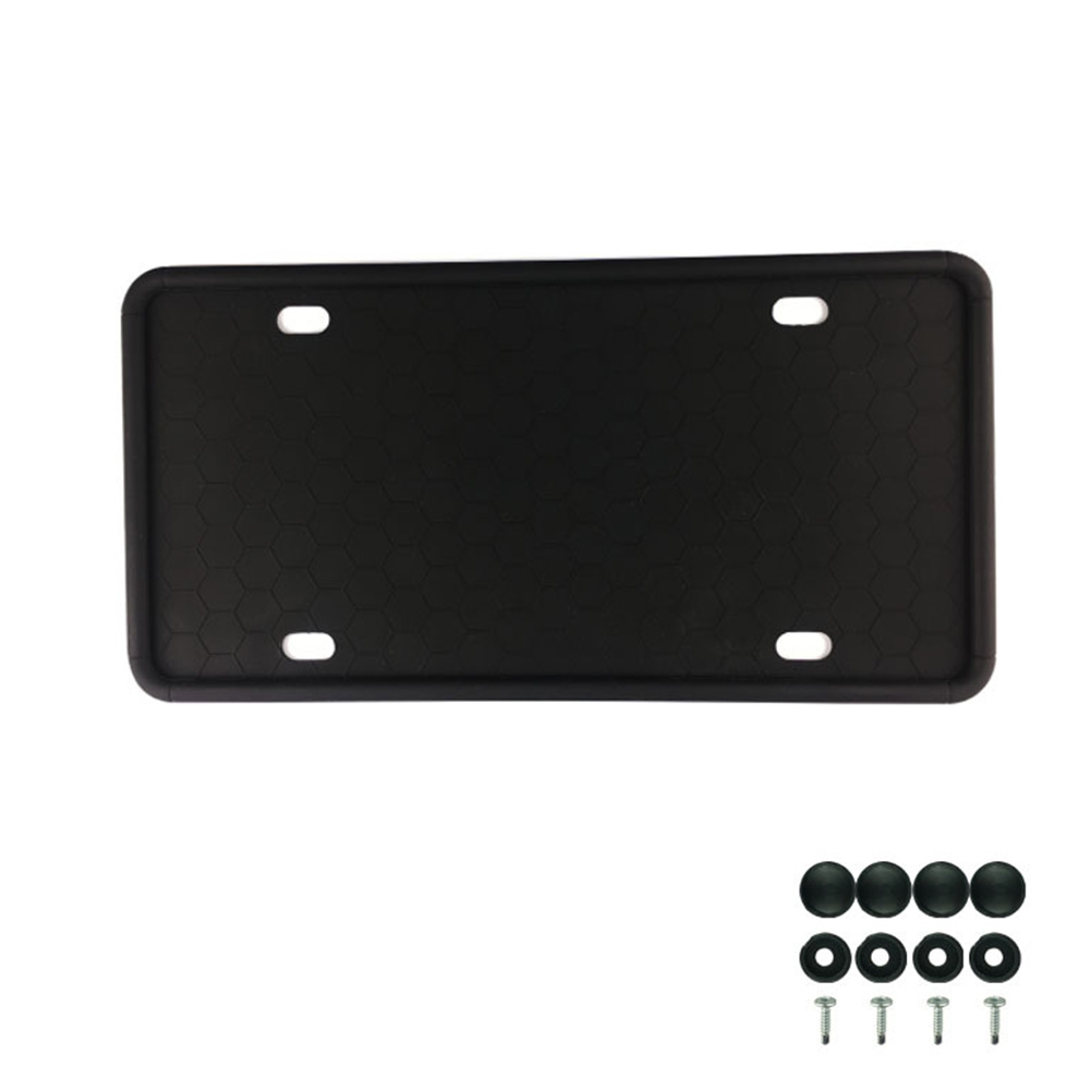 Silicone License Plate Frame License Plate Frames Holders with Drainage Holes for American Car Licenses black