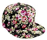 [EU Direct] Floral Flower Snapback Adjustable Fitted Men`s Women`s Hip-Hop Cap Hat Headwear