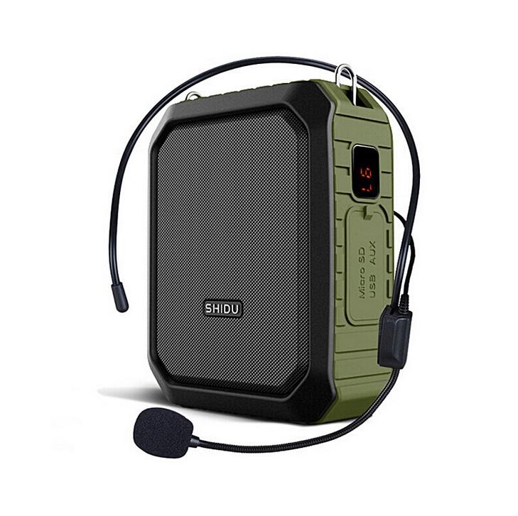 SHIDU 18W Portable Voice Amplifier Wireless UHF Microphone Waterproof Bluetooth Audio Speaker AUX TF USB Flash For Teachers M800 green