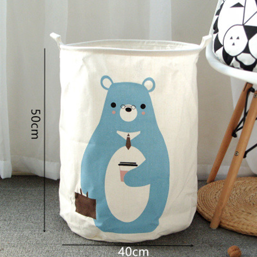 40X50cm Folding Laundry Storage Basket Cartoon Animal Pattern Laundry Organizer