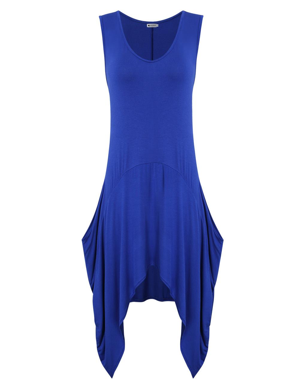 [US Direct] VeryAnn Women's Round Neck Knee-length Loose T-shirt Dress Casual Sleeveless Dress