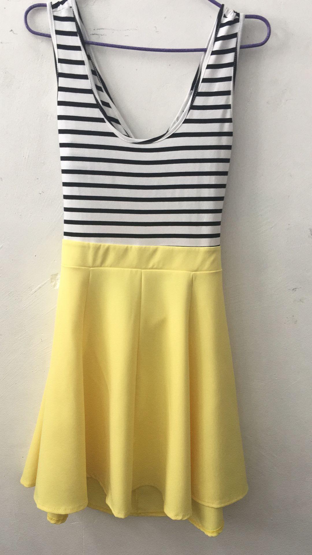 [US Direct] Ladies Open Back Sleeveless Slim Fit Striped Casual Cute Mini Dress Yellow_L