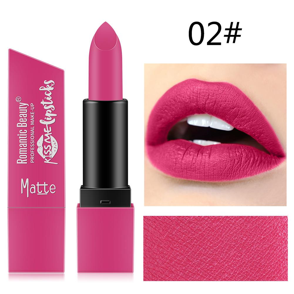 6 Color Matte Lipstick Sexy Shimmer Lipgloss Waterproof Long Lasting Diamond Party Lip Stick 02#