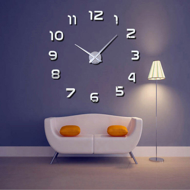 3D Big Size Wall Clock Mirror Sticker Diy Living Room Decor Meetting Room Wall Clock