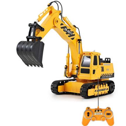 RC Truck Excavator Construction Digger Wireless Bulldozer Remote Control Alloy Excavator Birthday Gift yellow