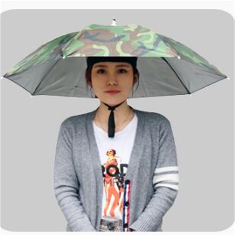 77cm Head-mounted Sunshade Umbrella Fishing Hat Umbrella Sunscreen Rain Outdoor Fishing Umbrella Large camouflage_77cm