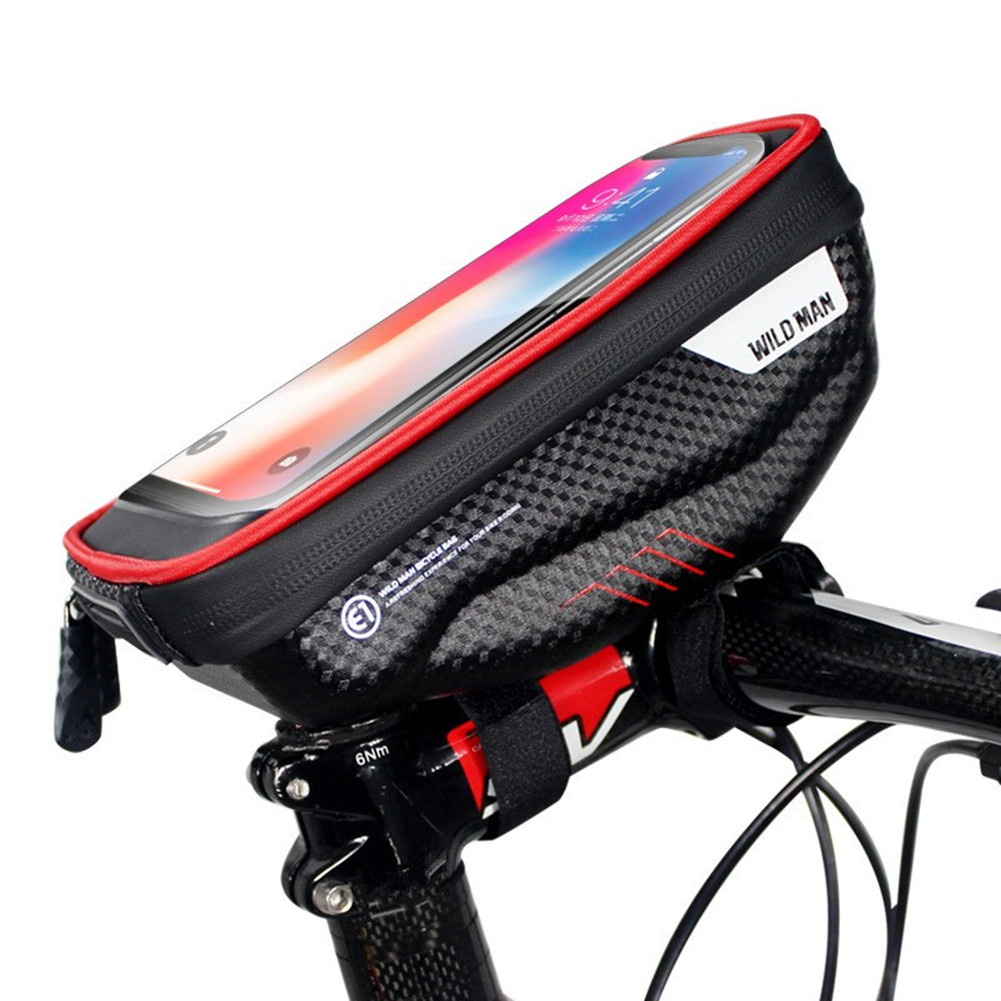 Bicycle Hardshell Front Beam Touch Screen Bag Waterproof Mobile Phone Bag red_1L capacity