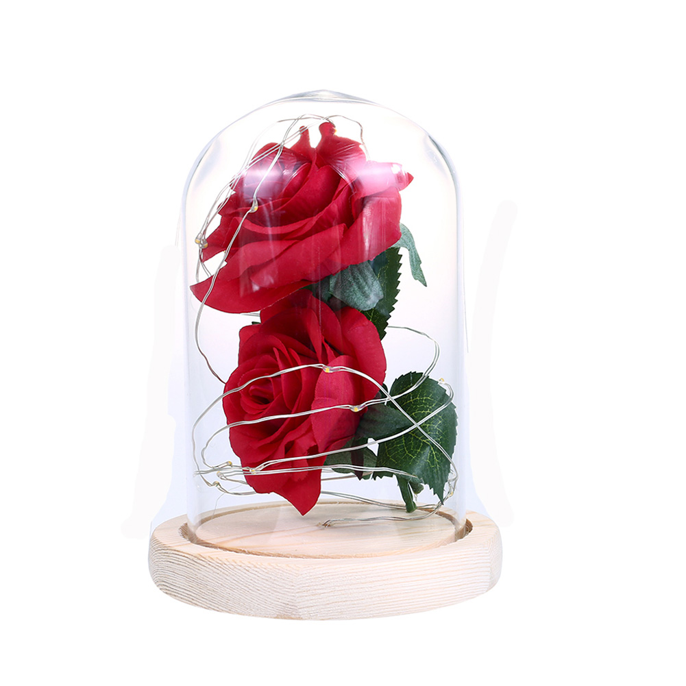 LED Romantic 2 Simulate Rose Shape Decor with String Light for Valentine Decoration red