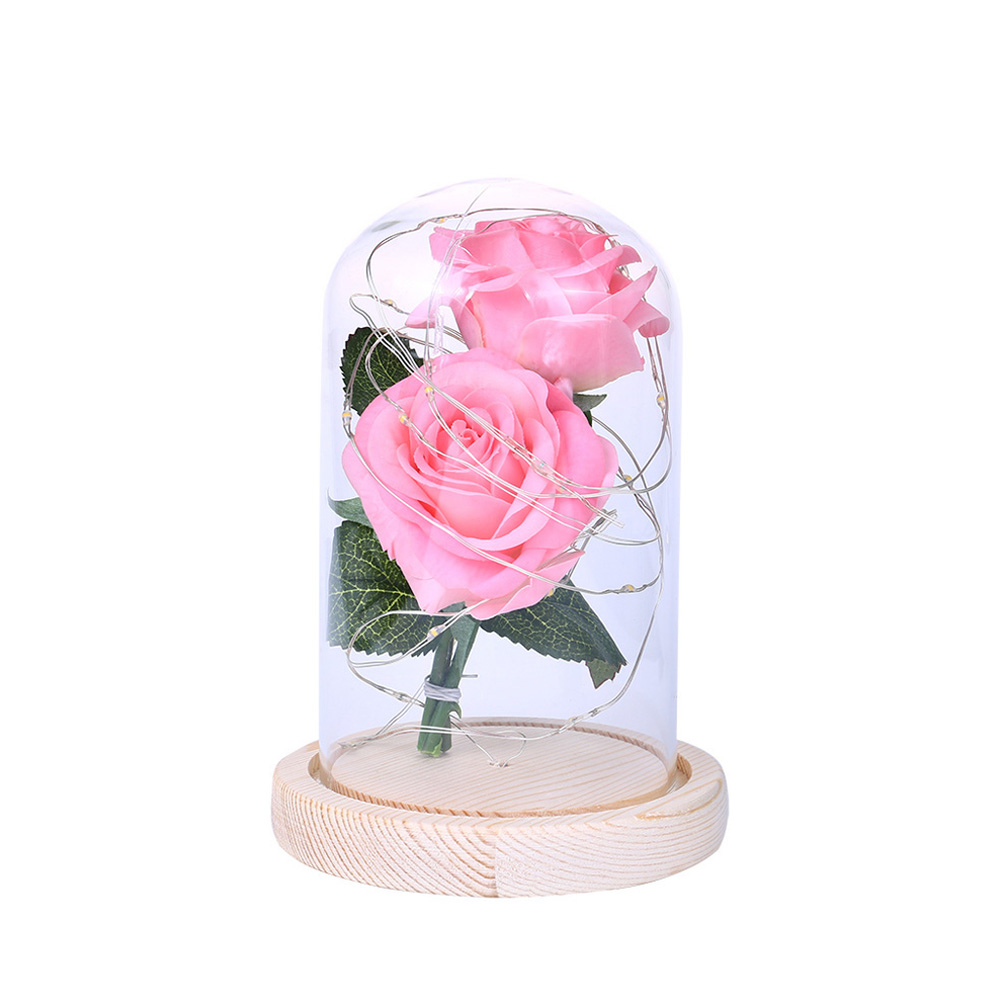 LED Romantic 2 Simulate Rose Shape Decor with String Light for Valentine Decoration Pink
