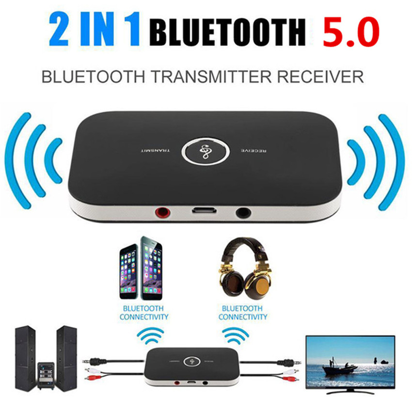 Bluetooth 5.0 Audio Receiver Transmitter 2 IN 1 RCA 3.5MM 3.5 AUX Jack USB Stereo Music Wire black