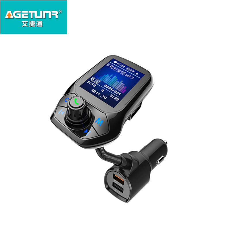 Bluetooth Music Player Car Adapter USB 3.0 Fast Charger Music FM Transmitter  black