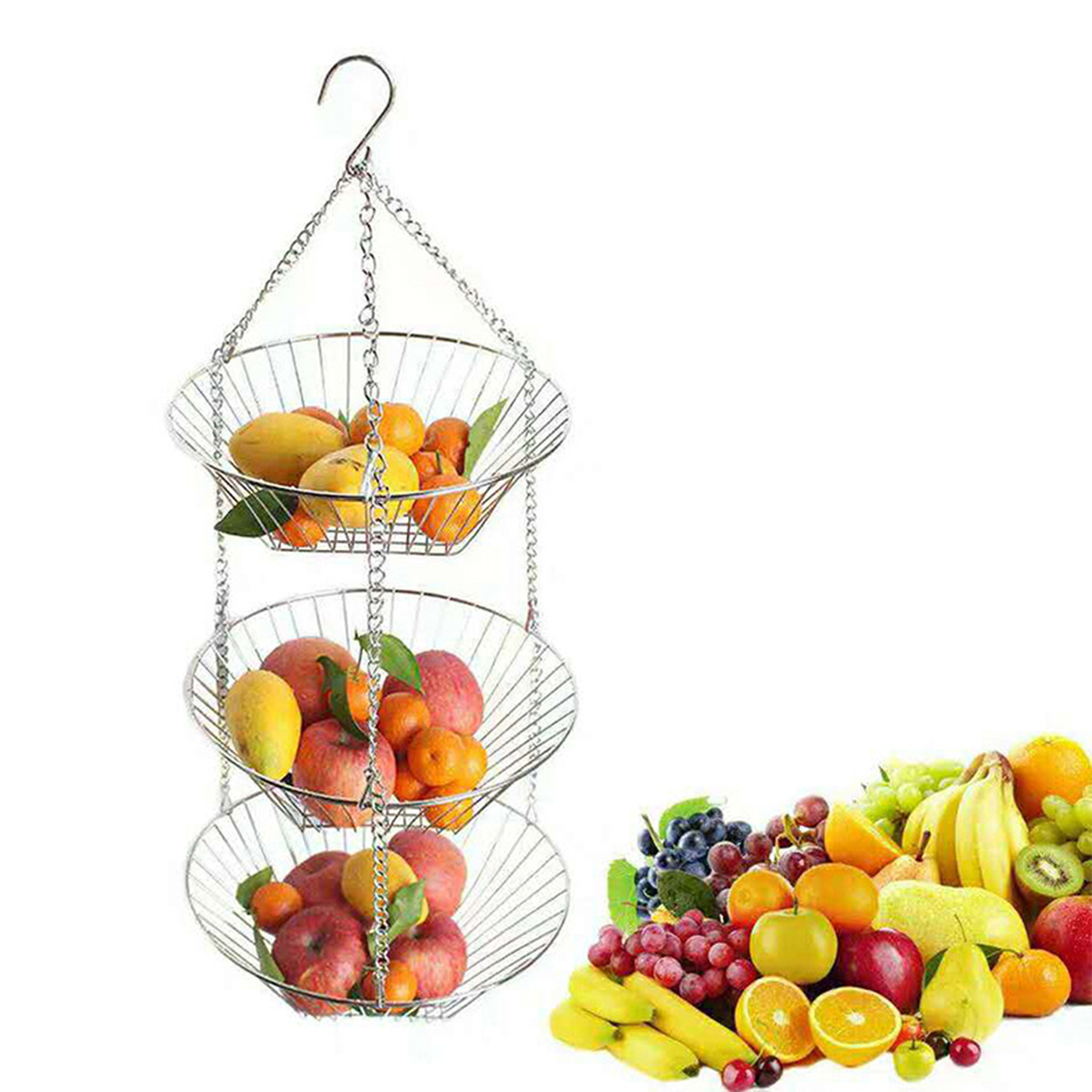 Simple Hanging Iron Wire 3-Layer Storage Baskets for Fruit Flower Display stainless steel