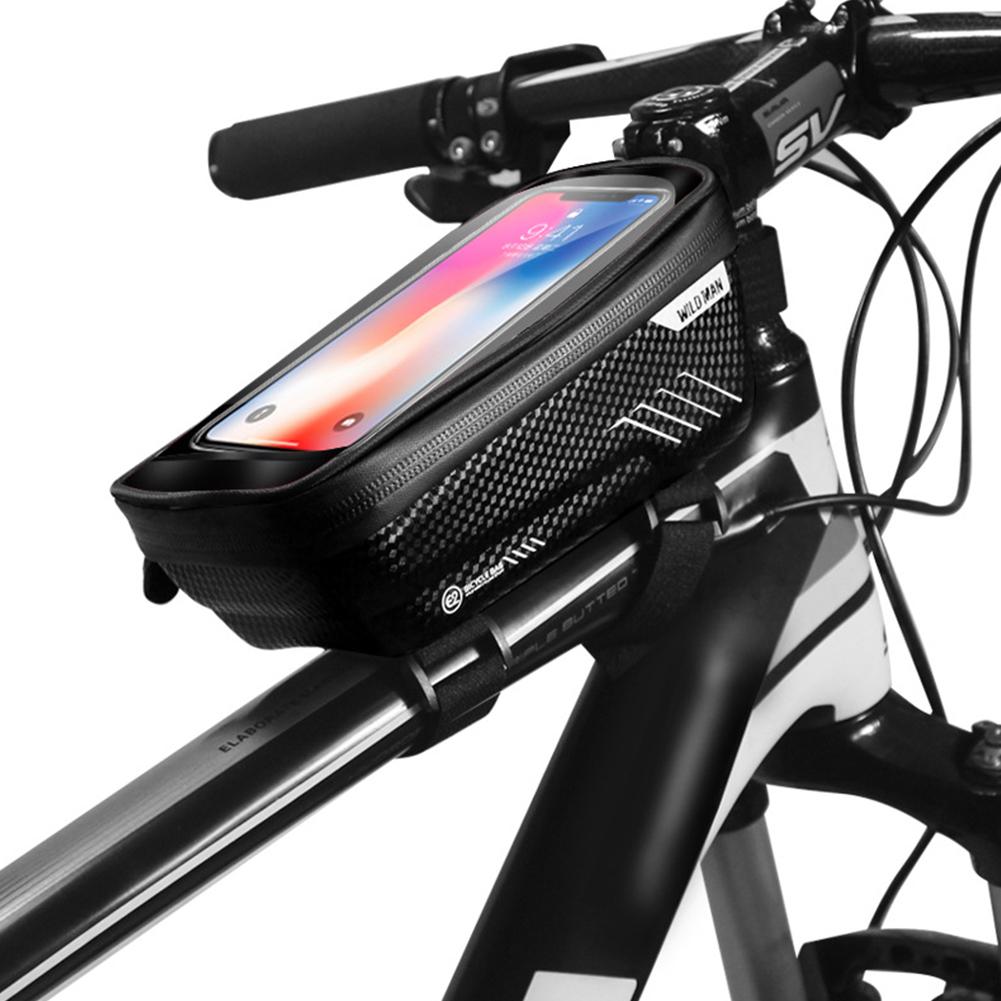 Hardshell Bicycle Front Bag Waterproof Mobile Phone Bag black_1L