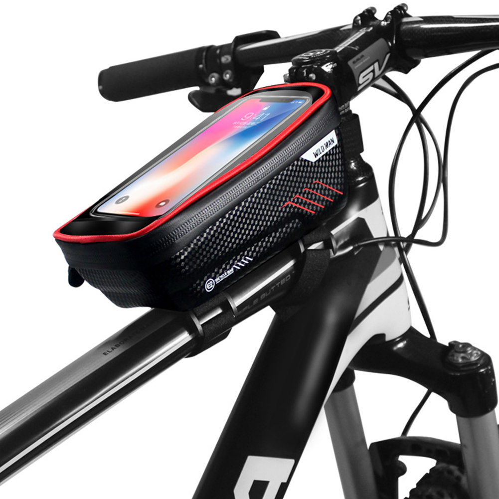 Hardshell Bicycle Front Bag Waterproof Mobile Phone Bag red_1L